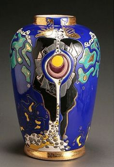 A Longwy glazed ceramic 'Eruption' vase, circa 1991