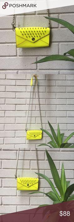 REBECCA MINKOFF NEON CHAIN WALLET 🌿 Neon yellow studded mini chain wallet Rebecca Minkoff Bags Crossbody Bags