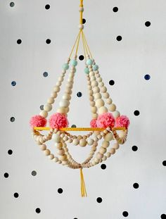 Wooden beads and pompons crown chandelier, hanging decor, nursery mobile, pajaki inspired ❊ This chandelier is made with natural wood beads, supported Diy And Crafts, Arts And Crafts, Kids Crafts, Wooden Crafts, Pom Pom Crafts, Diy Chandelier, Chandeliers, Handmade Felt, Etsy Handmade