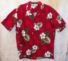 Pacific Legend Hawaiian Shirt Red Floral  Hibiscus #PacificLegend #Hawaiian