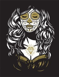 Print of Day of the Dead/Dia de Muertos by El Jefe Design Amazing Photography, Art Photography, Paper Wall Art, Screen Print Poster, Day Of The Dead Skull, Amazing Art, Screen Printing, Cool Art, Illustration Art