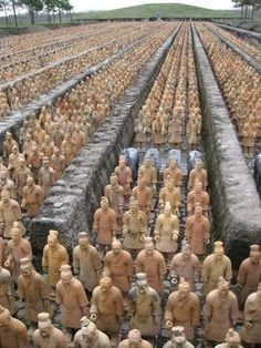 Terracotta Warriors, ChinaThe figures, dating from around the late third century BC, were discovered in 1974 by local farmers in Lintong District, Xi'an, Shaanxi province. The figures vary in height according to their roles, with the tallest being the generals. The figures include warriors, chariots and horses. Current estimates are that in the three pits containing the Terracotta Army there were over 8,000 soldiers, 130 chariots with 520 horses and 150 cavalry horses, the majority of which…