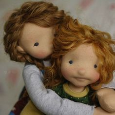 Sisterly love. If you want to read a little about my sister pair and offer your home to either one of them, please head over to my blog. They are both very excited to find a home. #figandme #sisters #dollmaking