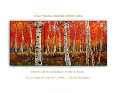 Large art on canvas ready to hang - Red Birch Forest - Nizamas Art Gallery