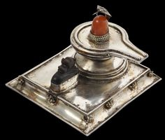 Asian Art | Silver Shivalingam Shrine with Attendant Nandi, set with Carnelian & Pearls - The Curator's Eye