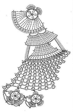 """Y una encantadora colecciòn de damas """"Muñecas antiguas""""bordadas y tejidas para ser aplicadas a paños de cocina y otras manualidades"""