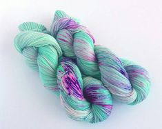 "Hand Dyed Sock Yarn, 4Ply Fingering Yarn, 100% Soft Merino Wool ""Papillon"" Mint Green Yarn, Speckled Yarn, Variegated Yarn, Gift For Knitter"