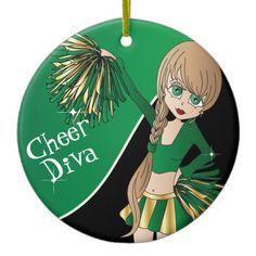 Cheer #Diva Green  #Cheerleader Girl #Christmas Tree #Ornaments #zazzlebesties #zazzle