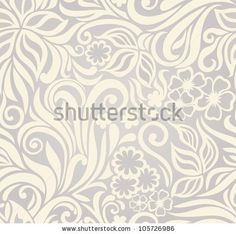 Decorative graphic curly seamless background with flowers and leaves by Alla.ya, via Shutterstock