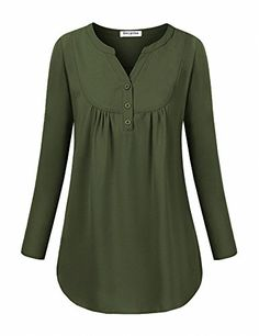 Chiffon Blouses for Women,Becanbe Women's Henley Long Sleeve V Neck Pleated Fall Casual Flowy Tunic Shirts(Green,Large) - Semra Güder - Flowy Shirts, Shirt Blouses, Blouse And Skirt, Blouse Dress, Blouse Styles, Blouse Designs, Trendy Dresses, Casual Dresses, Winter Blouses
