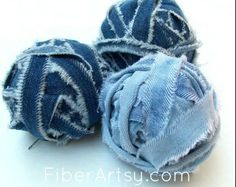 A FiberArtsy.com Tutorial  Have you seen all of the posts lately about making yarn from old t-shirts? I thought, hey why not try making yarn from denim? Denim i…