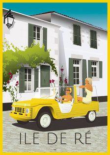 Affiche Ile de Ré -Le Phare - DOZ affiches vintage