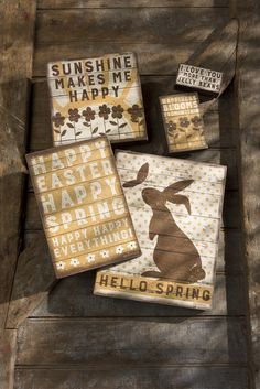 Rustic Easter Decor Box Signs by Primitives by Kathy