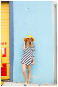 Stripes and A Pop of Yellow on blushandcamo.com