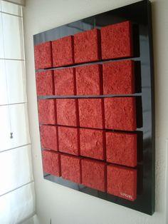 """""""20 lavas roja"""" costrucción de Cubos de madera de 15 cm sobre madera porcion 100cm 80cm"""