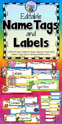 These editable name tags come in three different sizes and four different colors. The large name tags are great to attach to desk tops for student reference, the medium tags are suitable for personal name tags to use at the beginning of the year, when a substitute teacher has the class or on field trips. The smaller tags/labels may be used for labeling supply drawers, lockers, trays, students' displayed work. All name tags feature bright, colorful backgrounds and cute animal pictures.
