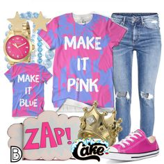 Make it pink! Make it blue! by leslieakay on Polyvore featuring H&M, Converse, Rebecca Minkoff, Disney Couture, Juicy Couture, Bling Jewelry, Jennifer Meyer Jewelry, Belk & Co., disney and disneybound