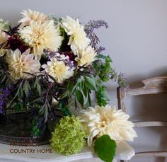 dahlias from the garden - MY FRENCH COUNTRY HOME elderflower leaves, cerinthus, sage, blue catmint, Jacob's ladder dahlias