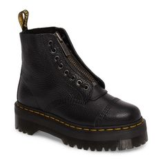 Women's Dr. Martens Sinclair Bootie (800 RON) ❤ liked on Polyvore featuring shoes, boots, ankle booties, black leather, black leather ankle booties, black leather bootie, black bootie, black lace up boots and black leather booties
