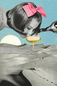 Diabetic Thirst via Eugenia Loli Collage. Click on the image to see more! Collage art. Paper art.