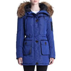 Rainforest Faux Fur-Trimmed Mixed Media Parka (€410) ❤ liked on Polyvore featuring outerwear, coats, cobalt blue, blue coat, faux fur trim parka, parka coat, rainforest coats and faux coat