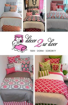 ✿✿ PREPARE for HOUSE TOURS!! ✿✿ Decorate your room with the absolute CUTEST dorm & sorority decor available! Decor-2-Ur-Door has the widest line of collegiate bedding you can imagine.  • 1,000s of CUSTOM 'design your own' bedding. • Tons of Bed-In-A-Bag selections. • Endless sorority colors, pillows, shams, custom headboards, curtains & more. • Put your greek letters on any piece in the collection! ✿ NOW is the time to start designing your dream sorority/dorm room!!!