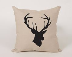 Deer head Cotton Throw Pillow Cover  16x16 18x18 20x20 by Daneeyo