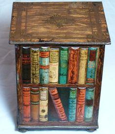 "SPLENDID ANTIQUE HUNTLEY+PALMER'S""BOOKSTAND""BOOKS FIGURAL BISCUIT TIN c1905"
