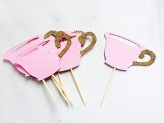 Pink and gold tea cup cupcake toppers, mad hatter tea party, alice in wonderland theme, garden party, princess party, first birthday by MiaAndAsh on Etsy https://www.etsy.com/listing/249707589/pink-and-gold-tea-cup-cupcake-toppers