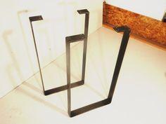 "SET of 2 Flat Steel ""U"" Shaped Metal Table Legs (coffee table height)"