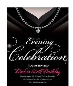 60th Birthday Party Invitations For Her Elegant Adult 70th