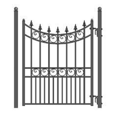 H x ft. W Moscow Steel Pedestrian Gate Steel Fence Panels, Metal Fence, Corrugated Metal, Metal Railings, Wrought Iron Gate Designs, Wrought Iron Fences, Iron Fence Gate, Fence Gates, Fencing