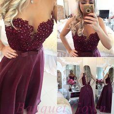 Elegant Sheer A-Line Appliques Burgundy Prom Dresses 2016 Floor Length Beaded Backless Evening Gowns