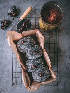 Black Tie Doughnuts - Black Charcoal Doughnuts with Dark Chocolate Custard