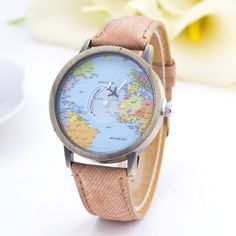 To travel is to live! Now you can 'wear it' on your wrist! :) Comes in 7 different colors and you're going to absolutely love it! Movement : Quartz Band Length : 24 cm Band Material : Fabric Dial Diam