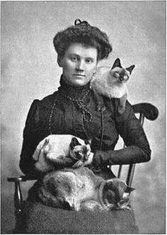 Victorian Woman with Siamese Cats