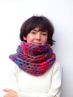Chunky infinity knit scarf / cowl by CozySeason on Etsy