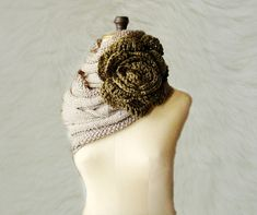 Cabled Cowl Infinity Loop Circle Scarf with Huge Flower by faima, $52.00