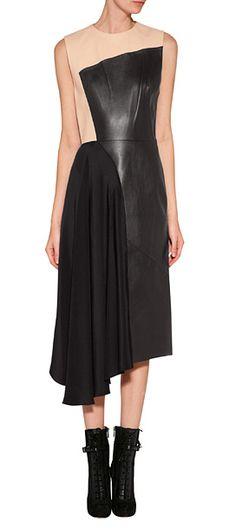 Leather/Silk Colorblock Dress look detail