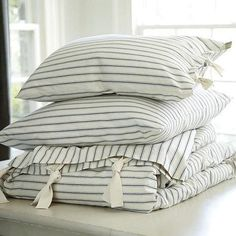 Navy Ticking Stripe Bedding.