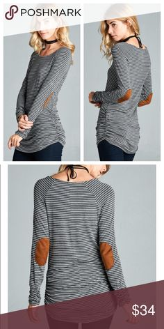 Elbow Patch Tunic Charcoal and white striped Tunic with elbow patches. 94% rayon 6% spandex. Happy shopping 😃 Tops Tunics