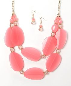 Look what I found on #zulily! Gold & Pink Pebble Layered Statement Necklace & Drop Earrings #zulilyfinds