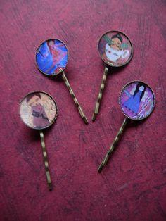 Whimsical mixed media art hair pinspack of 4 by eltsamp on Etsy, $32.00
