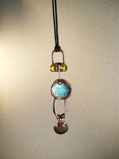 Yellow glass cabochon with stoneware pendant by AurumgirlStudio
