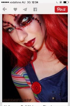 Scary ladies Chucky Halloween make up Costume Halloween, Bloody Halloween, Fall Halloween, Diy Chucky Costume, Chucky Halloween, Doll Costume, Halloween Stuff, Cosplay Costumes, Chucky Makeup