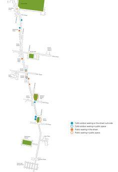 New York City street diagram illustrating more pedestrian space