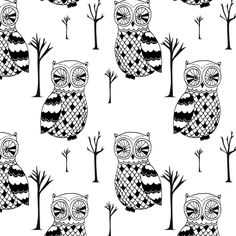 Tree owl fabric by >>mintpeony<< on Spoonflower - custom fabric