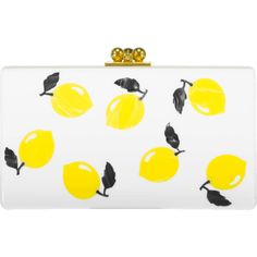 Edie Parker Jean Lemons Clutch ($1,295) ❤ liked on Polyvore featuring bags, handbags, clutches, white handbag, white clutches, lemon handbag, white purse and clasp handbag