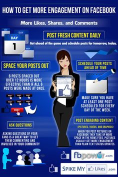 Facebook marketing infographic get more likes shares and comments www.socialmediamamma.com