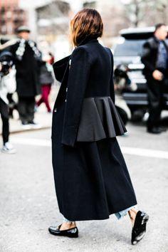 Dramtic black coat, denim and flats. Fashion Gone rouge
